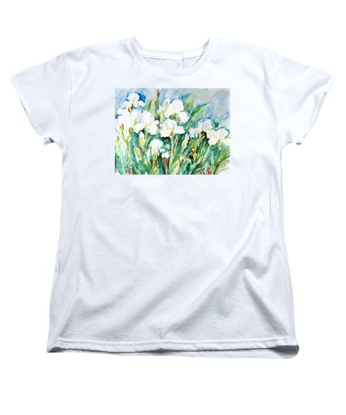 White Irises Women's T-Shirt (Standard Cut) by Alexandra Maria Ethlyn Cheshire