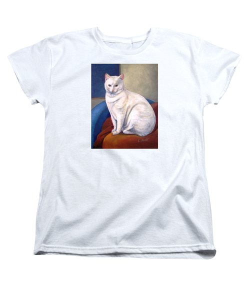 Women's T-Shirt (Standard Cut) featuring the painting White Kitty by Laura Aceto