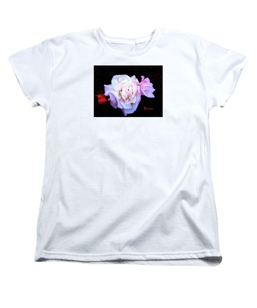 Women's T-Shirt (Standard Cut) featuring the photograph White - Pink Roses by Sadie Reneau