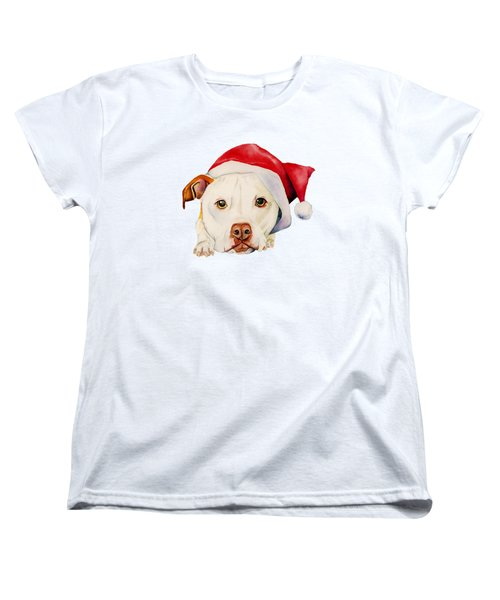 White Pit Bull Terrier Dog With Santa Hat Portrait Women's T-Shirt (Standard Fit)