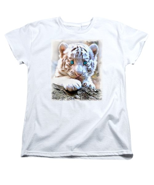 White Tiger Cub Women's T-Shirt (Standard Cut) by Sergey Lukashin