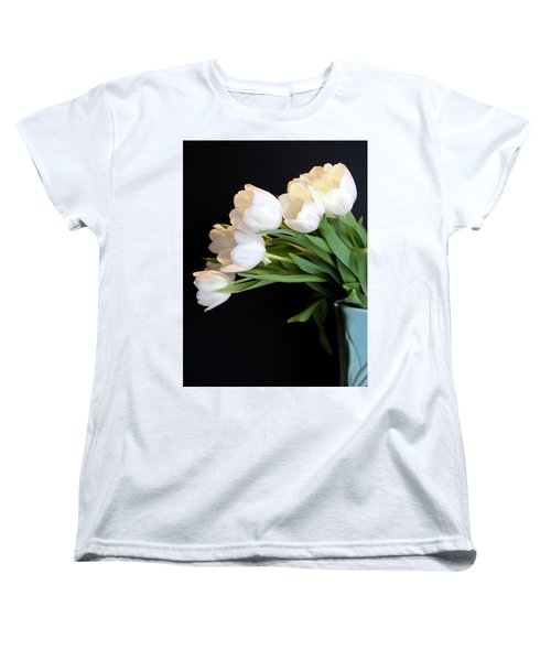 White Tulips In Blue Vase Women's T-Shirt (Standard Cut) by Julia Wilcox