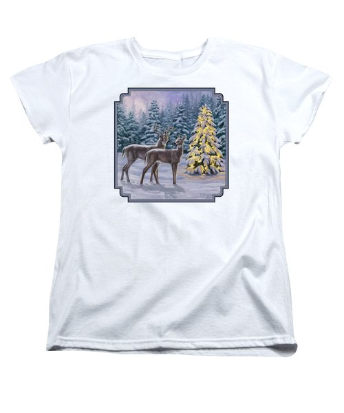 Whitetail Christmas Women's T-Shirt (Standard Cut) by Crista Forest