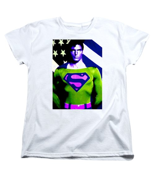 Women's T-Shirt (Standard Cut) featuring the digital art Who Is Superman by Saad Hasnain