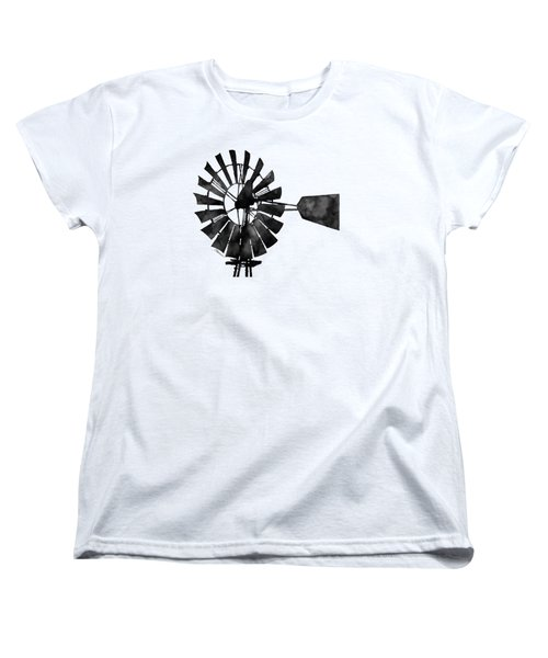 Women's T-Shirt (Standard Cut) featuring the painting Windmill In Black And White by Hailey E Herrera