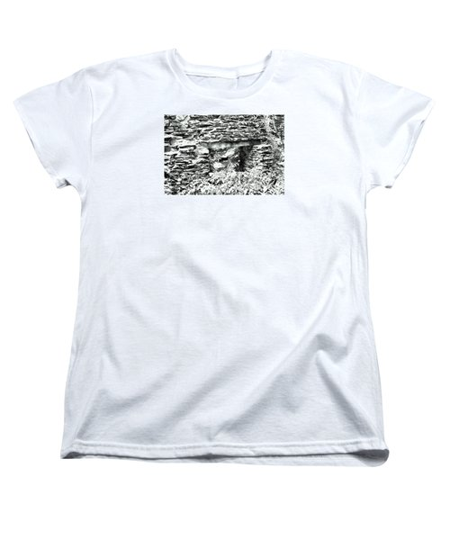 Window View Of Sope Creek In Black And White Women's T-Shirt (Standard Cut) by James Potts