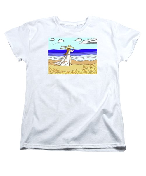 Windy Day At The Beach Women's T-Shirt (Standard Cut) by Patricia L Davidson
