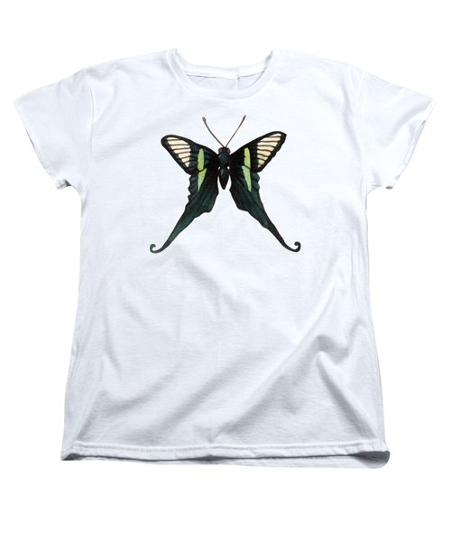 Winged Jewels 3, Watercolor Tropical Butterfly With Curled Wing Tips Women's T-Shirt (Standard Fit)