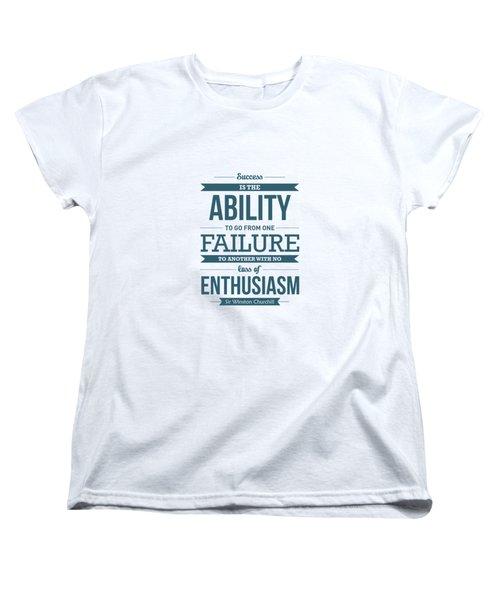 Winston Churchill British Politician Typography Quote Poster Women's T-Shirt (Standard Cut)