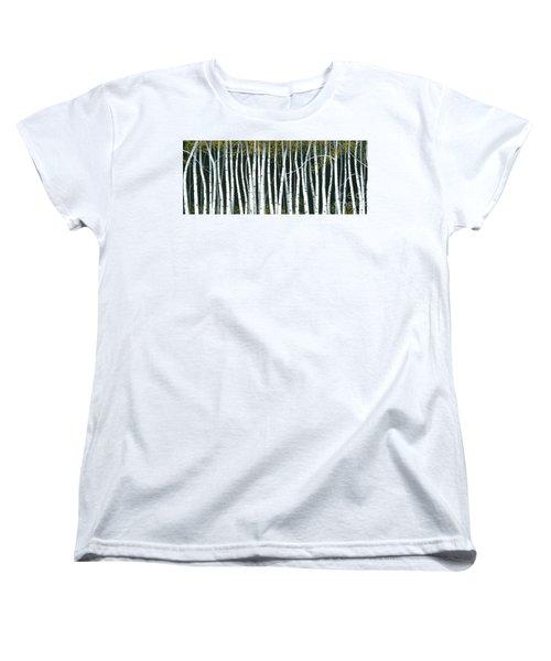 Women's T-Shirt (Standard Cut) featuring the painting Winter Aspen 3 by Michael Swanson