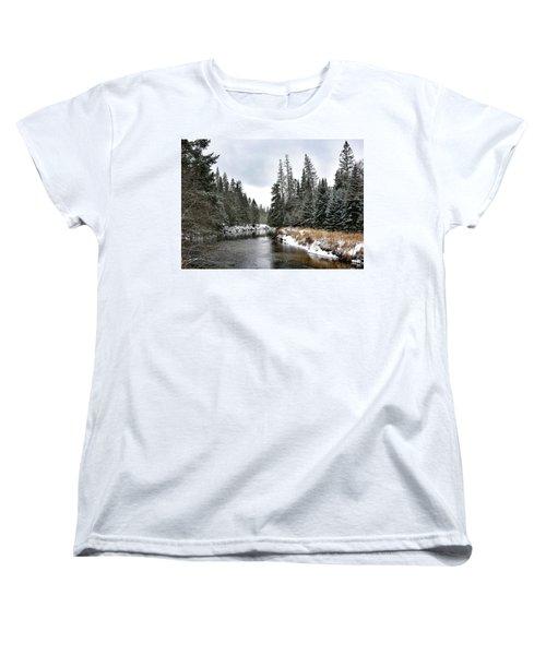 Women's T-Shirt (Standard Cut) featuring the photograph Winter Creek In Adirondack Park - Upstate New York by Brendan Reals