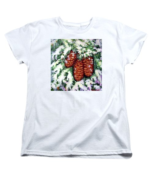 Women's T-Shirt (Standard Cut) featuring the painting Winter Fir Cones by Inese Poga