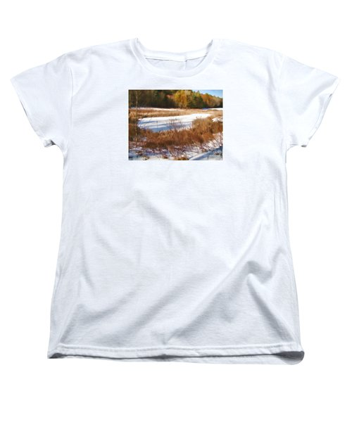 Women's T-Shirt (Standard Cut) featuring the photograph Winter Marsh by Betsy Zimmerli