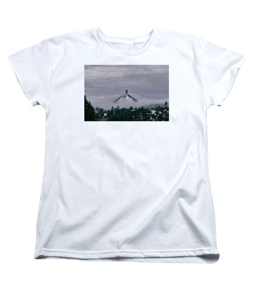 Winter Morning Fog Envelops Chimney Rock Women's T-Shirt (Standard Cut) by Jason Coward