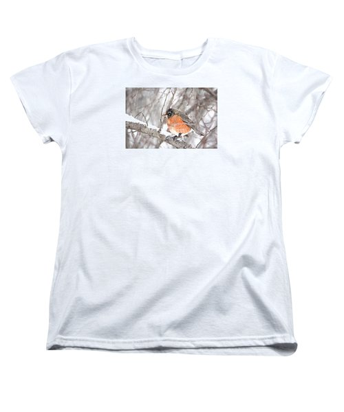 Women's T-Shirt (Standard Cut) featuring the photograph Winter Robin by Trina Ansel