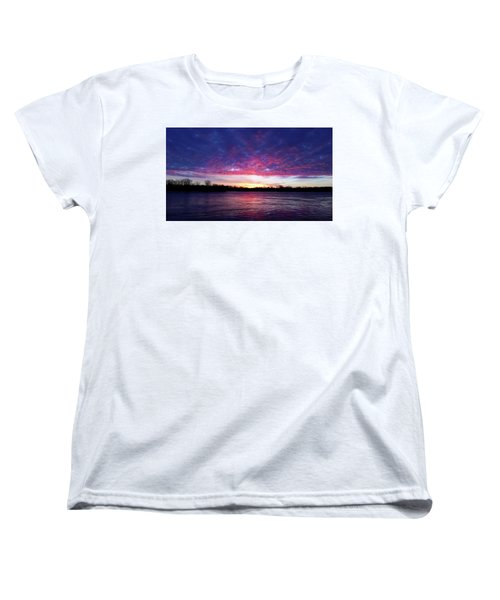 Winter Sunrise On The Wisconsin River Women's T-Shirt (Standard Cut) by Brook Burling