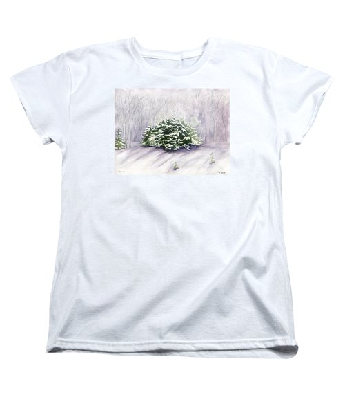 Women's T-Shirt (Standard Cut) featuring the painting Winter Wind by Melly Terpening