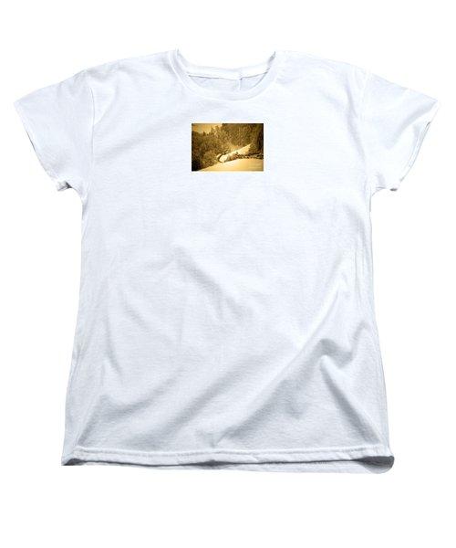Women's T-Shirt (Standard Cut) featuring the photograph Winter Wonderland In Switzerland - Up The Hills by Susanne Van Hulst