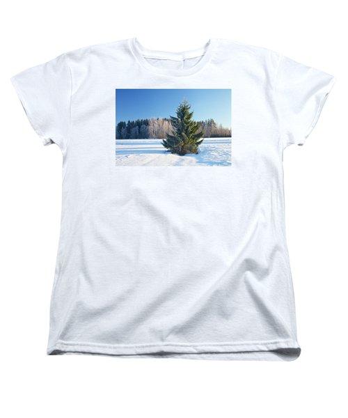 Wintry Fir Tree Women's T-Shirt (Standard Cut) by Teemu Tretjakov