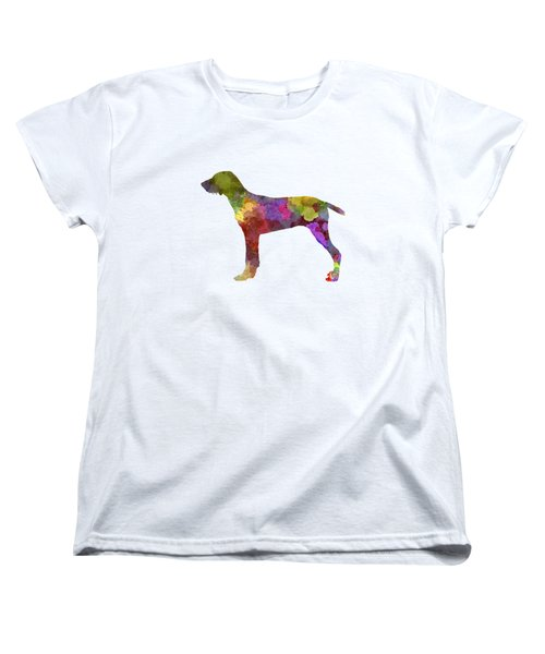 Wirehaired Slovakian Pointer In Watercolor Women's T-Shirt (Standard Cut) by Pablo Romero