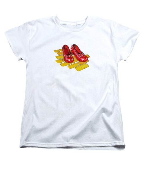Wizard Of Oz Ruby Slippers Women's T-Shirt (Standard Cut) by Irina Sztukowski
