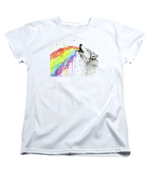 Wolf And Rainbow  Women's T-Shirt (Standard Fit)