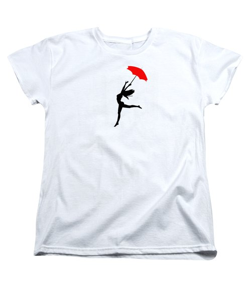 Woman Dancing In The Rain With Red Umbrella Women's T-Shirt (Standard Cut) by Serena King