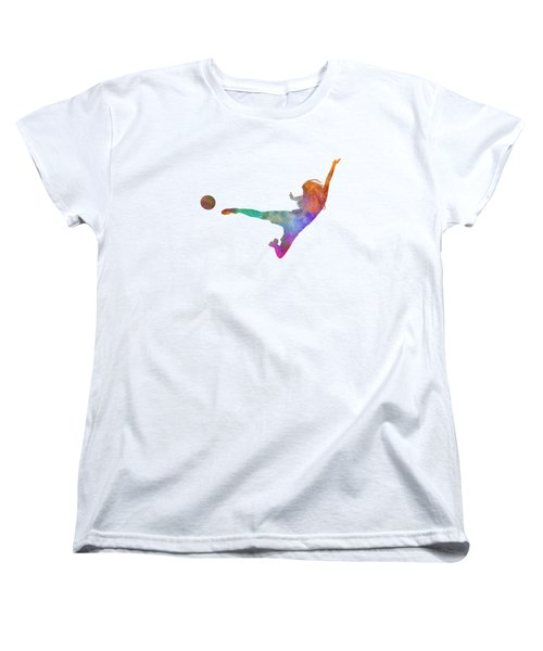 Woman Soccer Player 02 In Watercolor Women's T-Shirt (Standard Cut) by Pablo Romero