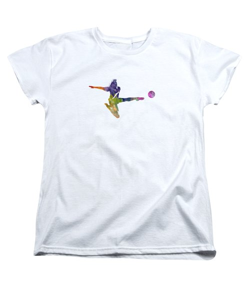 Woman Soccer Player 04 In Watercolor Women's T-Shirt (Standard Cut) by Pablo Romero
