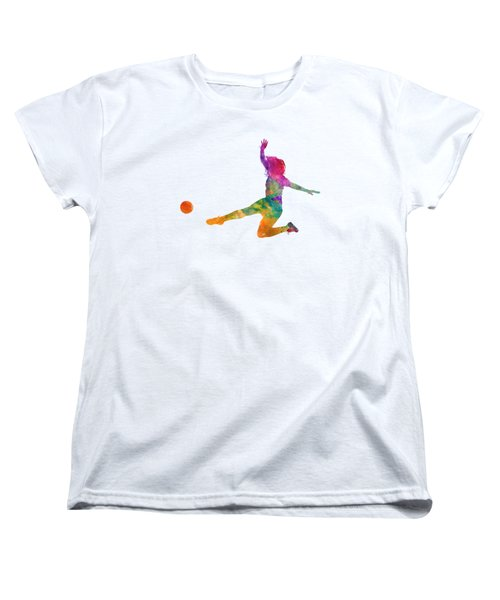 Woman Soccer Player 11 In Watercolor Women's T-Shirt (Standard Cut) by Pablo Romero