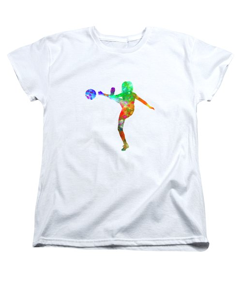 Woman Soccer Player 17 In Watercolor Women's T-Shirt (Standard Cut) by Pablo Romero