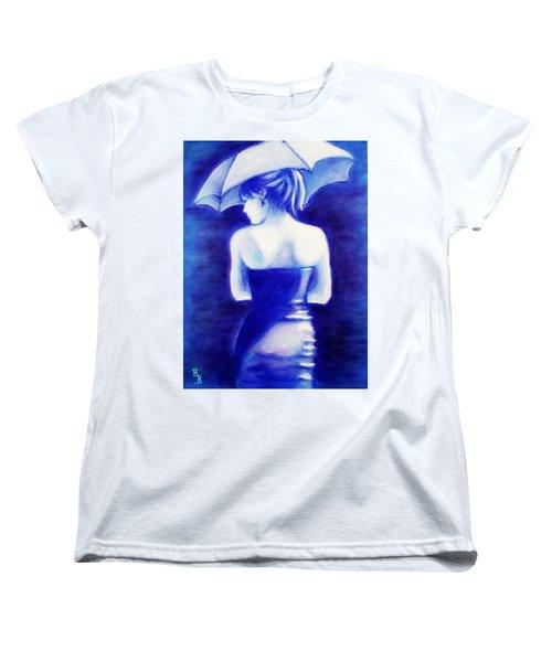 Woman With An Umbrella Blue Women's T-Shirt (Standard Cut)