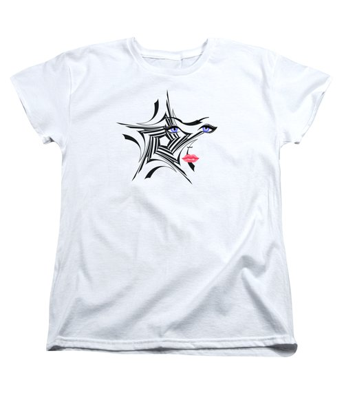 Woman With Star Design Women's T-Shirt (Standard Cut) by Christine Perry