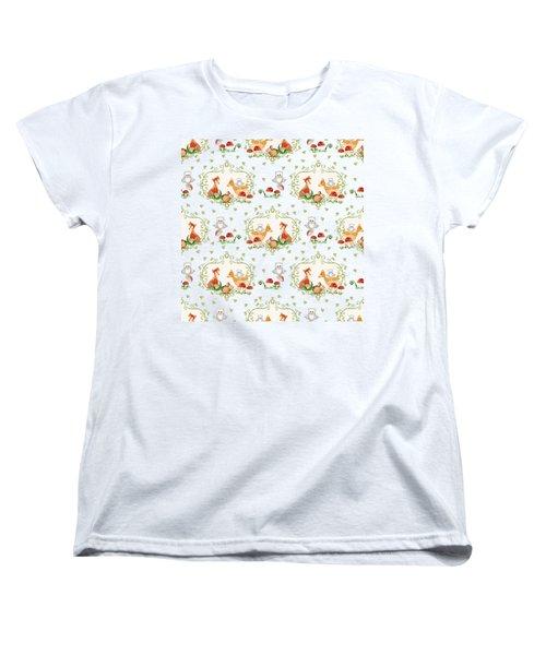 Woodland Fairy Tale -  Warm Grey Sweet Animals Fox Deer Rabbit Owl - Half Drop Repeat Women's T-Shirt (Standard Fit)