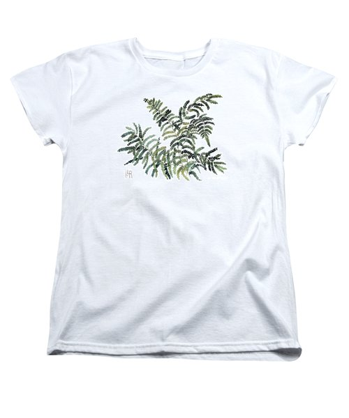 Women's T-Shirt (Standard Cut) featuring the painting Woodland Maiden Fern by Laurie Rohner
