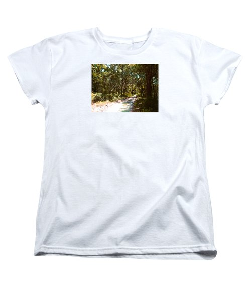 Women's T-Shirt (Standard Cut) featuring the photograph Woodsy Trail by Ginny Schmidt
