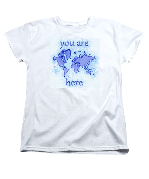 World Map Airy You Are Here In Blue And White Women's T-Shirt (Standard Cut) by Eleven Corners