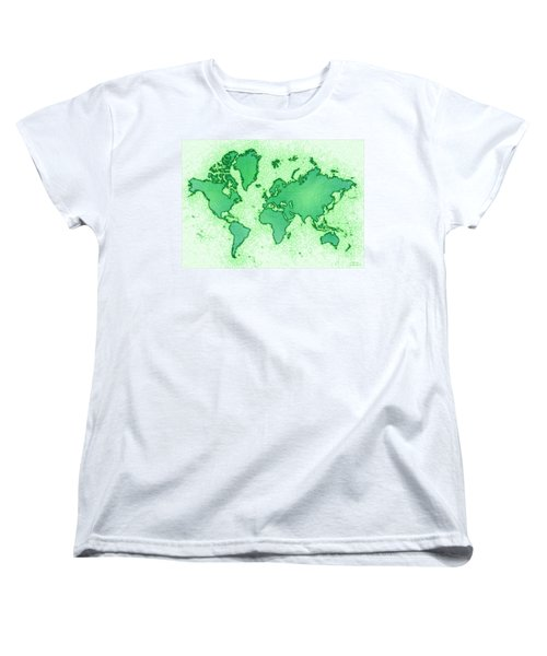World Map Airy In Green And White Women's T-Shirt (Standard Cut) by Eleven Corners