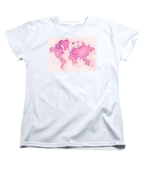 World Map Airy In Pink And White Women's T-Shirt (Standard Cut) by Eleven Corners