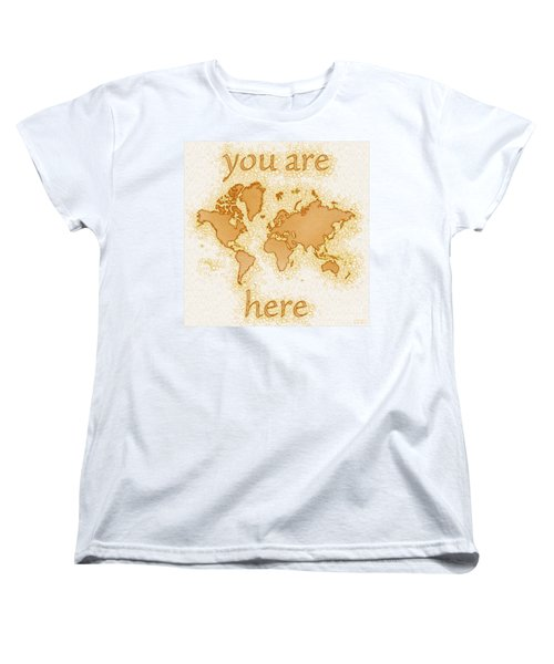 World Map Airy You Are Here In Brown And White  Women's T-Shirt (Standard Cut) by Eleven Corners
