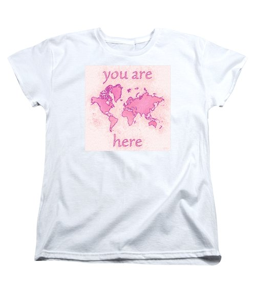 World Map Airy You Are Here In Pink And White Women's T-Shirt (Standard Cut) by Eleven Corners