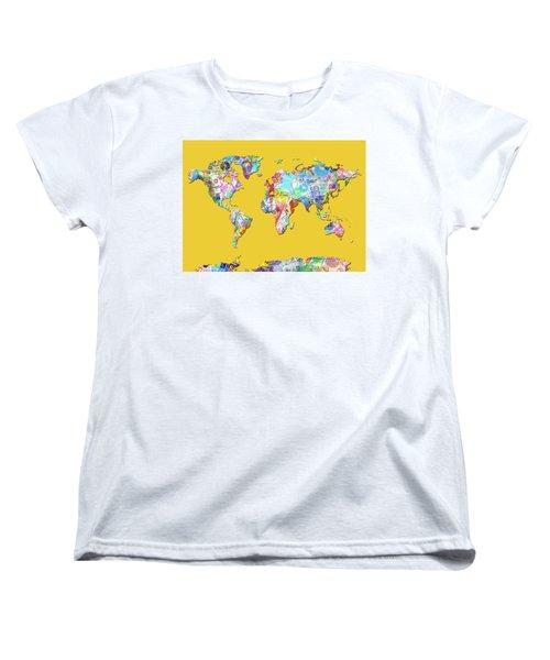 Women's T-Shirt (Standard Cut) featuring the digital art World Map Music 13 by Bekim Art