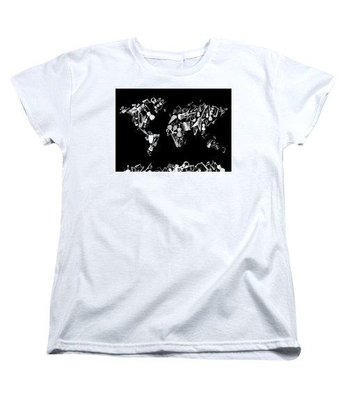 Women's T-Shirt (Standard Cut) featuring the digital art World Map Music 5 by Bekim Art