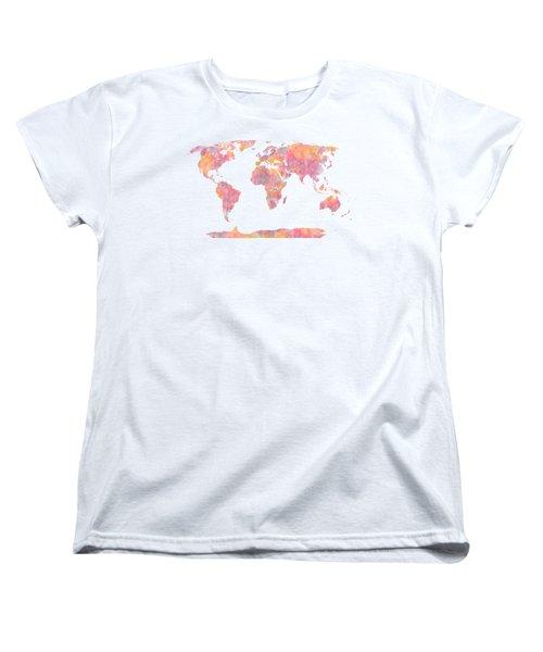 World Map Watercolor Painting Women's T-Shirt (Standard Cut) by Georgeta Blanaru