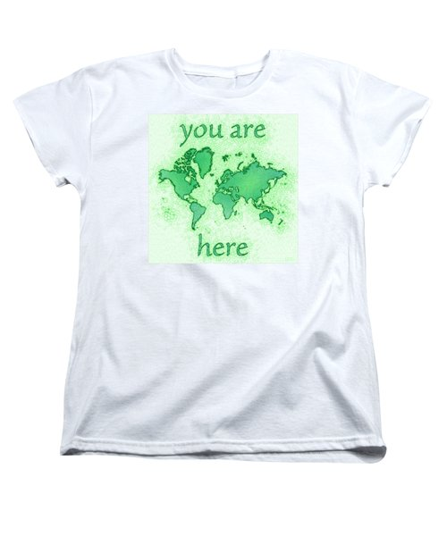 World Map You Are Here Airy In Green And White Women's T-Shirt (Standard Cut) by Eleven Corners