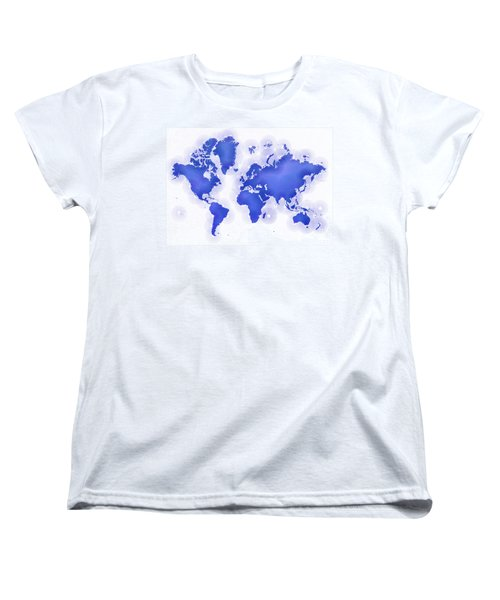 World Map Zona In Blue And White Women's T-Shirt (Standard Cut) by Eleven Corners