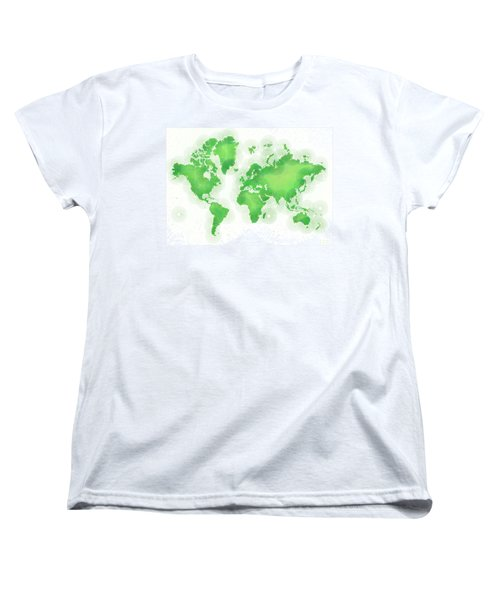 World Map Zona In Green And White Women's T-Shirt (Standard Cut) by Eleven Corners