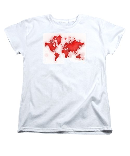 World Map Zona In Red And White Women's T-Shirt (Standard Cut) by Eleven Corners