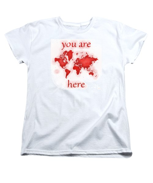World Map Zona You Are Here In Red And White Women's T-Shirt (Standard Cut) by Eleven Corners