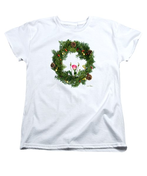 Wreath With Rose Women's T-Shirt (Standard Cut) by Lise Winne